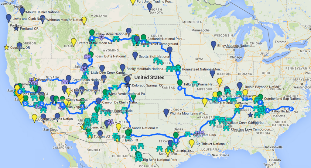 Road Trip map route
