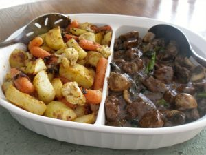 Beefless Tips with Roasted Veg